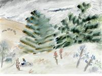 figures in fields by milton avery
