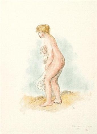 baigneuse debout, en pied by pierre-auguste renoir