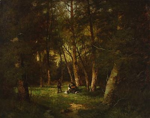 rest in the forest by jean-baptiste-camille corot