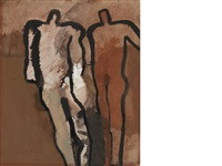 two figures on a red ground by keith vaughan
