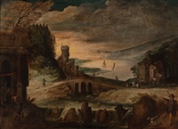 river landscape with various figures on a mountain path by joos de momper the younger