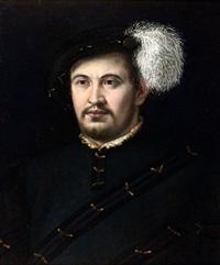 portrait d'homme au béret à plume by nicolo dell' abbate