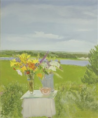 lizzie's flowers in a landscape by jane freilicher