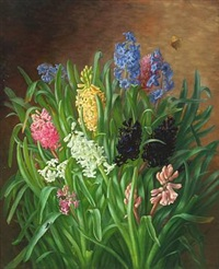 still life with hyacinths and butterfly by alfrida baadsgaard