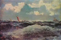 segelbatar till havs by gustaf albert
