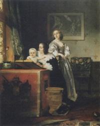 femmes et enfant dans un intérieur by johann cornelius mertz