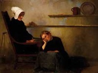 jeune fille assise aux pieds d'une jeune femme by anonymous (19)