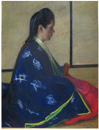 seated woman in kimono by lilla cabot perry