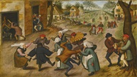 a village street with peasants dancing by pieter brueghel the younger