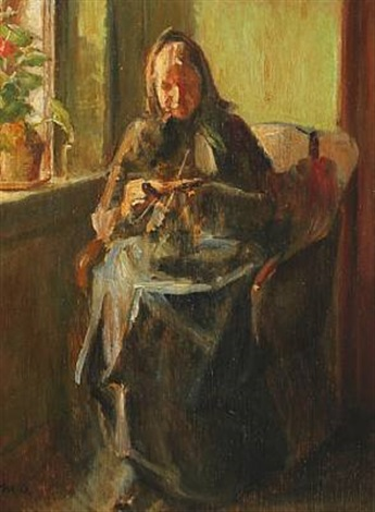 interior with knitting woman by michael peter ancher
