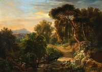 landscape from the alban mountains outside rome by oswald achenbach