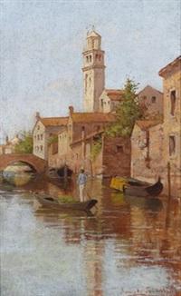 kanal in venedig mit figürlicher staffage by romolo tessari