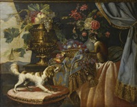 vases de fruits et de fleurs et corbeille de prunes sur un entablement avec un petit chien sur un coussin brodé et un singe à la prune by french school (17)