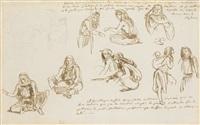 etude de personnages arabes by eugène delacroix