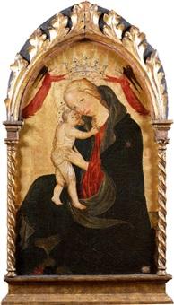 vierge d'humilité couronnée par deux anges by master of borgo alla collina