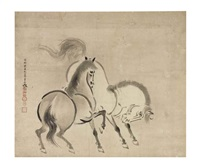 two horses by kano yasunobu