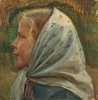 portrait of a fisher girl. study by michael peter ancher