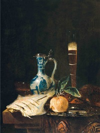 still life with a delft jar, a flute of beer and an orange by juriaen van streeck