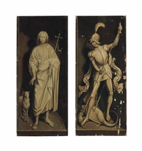 saint john the baptist (+ saint george killing the dragon; pair) by hans memling