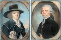 portrait de femme au chien (+ portrait d'homme; pair) by jean pierre grasson