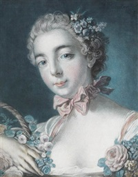 tête de flore (after boucher) by louis marin bonnet