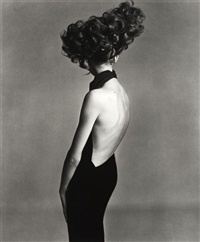 jean shrimpton, evening dress by galitzine, hair by alexandre, paris studio by richard avedon
