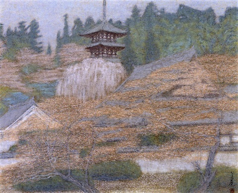 taima temple with flowers by yoshishiko yoshida