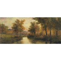 a tranquil river view by geoff h. flavelle