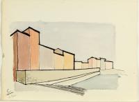 cartella di 8 disegni: soggetti urbani (portfolio w/ 8 works) by renzo piano