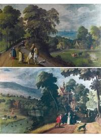 la rencontre sur le chemin (+ paysage aux cavaliers et paysans; pair) by hans jordaens iii