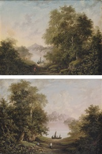 fishermen on the banks of a river (+ figure on the bank of a river; pair) by charlotte nasmyth