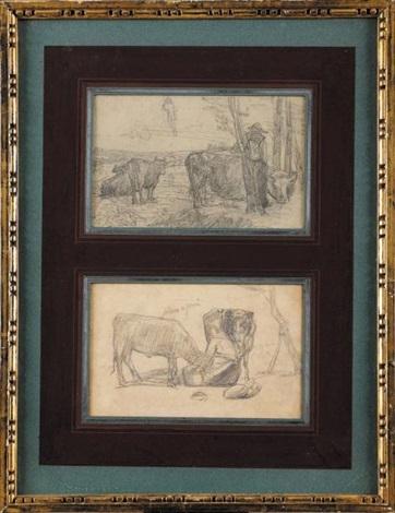fermier et son troupeau et fermière et ses vaches deux 2 works by eugène boudin