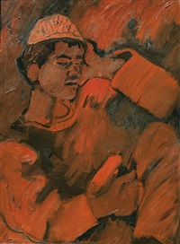 arab boy with cap by pinchas litvinovsky