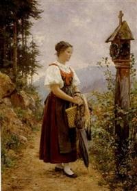 junges mädchen auf einem weg durch einen altar by wilhelm g. hasemann