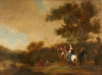 a wooded landscape with a hunting party by gerrit claesz bleker