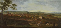 stadtpanorama in weitem flusstal (lothringen?) by jean baptiste charles claudot