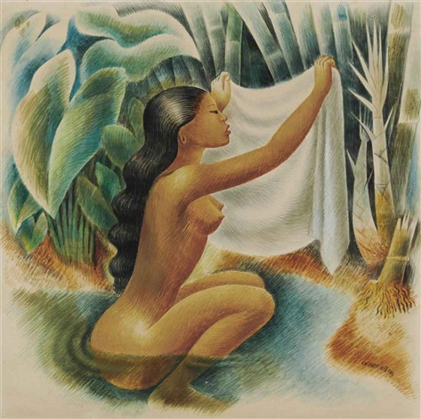 bather holding up her kemban by miguel covarrubias