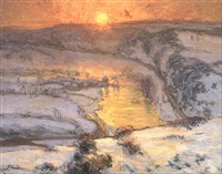 solnedgang over floden by gustaf albert