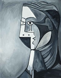 not picasso, woman's head in black & white by mike bidlo