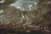 the holy league's fleet lying off a harbour, thought to be genoa, before the battle of lepanto, with figures loading arms and armour onto a boat in the foreground with a dignitary looking on by andries van eertvelt