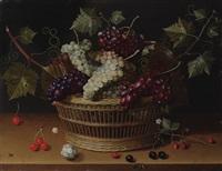 nature morte à la corbeille de raisins, cerises et branche de fraisier sur un entablement by isaac soreau