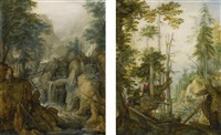 alpine landscape with torrent and hunter; alpine landscape with three hunters (2 works) by roelandt savery