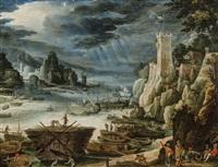 paysage rocheux avec port de mer et nombreuses figurines et embarcations by paul bril