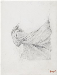 étude de draperie by edgar degas