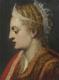 profile portrait of a woman by frans floris the elder