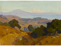 view along the santa barbara coast; eucalyptus trees (double-sided) by marion kavanaugh wachtel