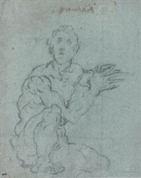 étude d'homme accroupi (study) by jacopo robusti tintoretto