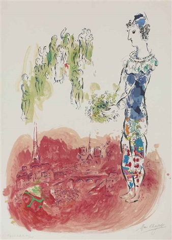 le clown bleu sur paris by marc chagall