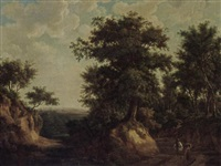 an extensive wooded landscape with a horseman, a maid and other travellers on a path by maximilien lambert gelissen