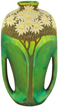 four-handled vase with daisy decor by sandor apati abt